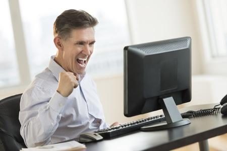 Successful mature businessman using Desktop PC in office