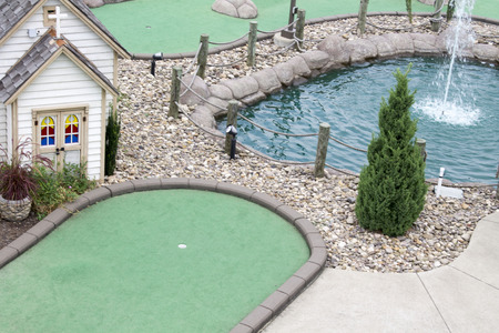 arial: Arial view of a miniature golf course