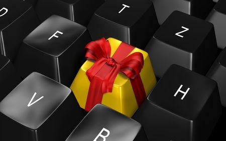 tastatur: tastatur geschenkschleife Stock Photo