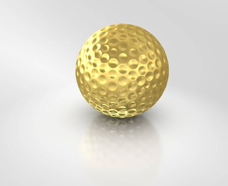 golfball: Golf ball gold isolated on white background