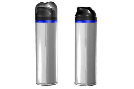 ad: A spray can with blank label, isolated on white.