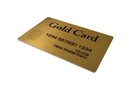 mastercard: Gold credit card on white background Stock Photo