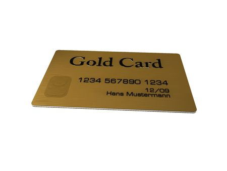 Gold credit card on white background photo