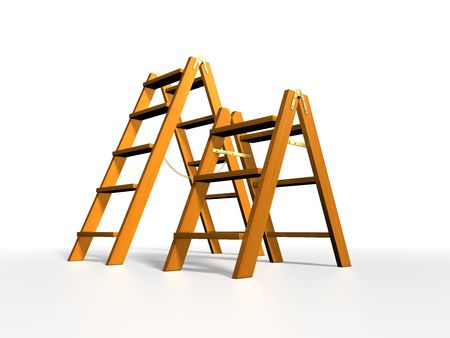 rungs: Wooden ladder on white background Stock Photo