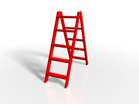 rungs: Red ladder on white background