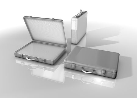 mundane: Silver toned metal briefcase, isolated on white backround Stock Photo