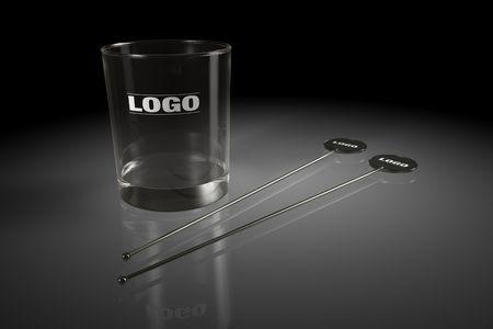 stirred: black stirred and alcohol glass on black background