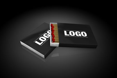 matchbox: black Blank Matchbox on black background