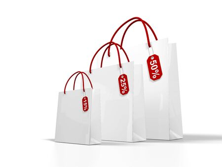 white shopping bag on white background photo