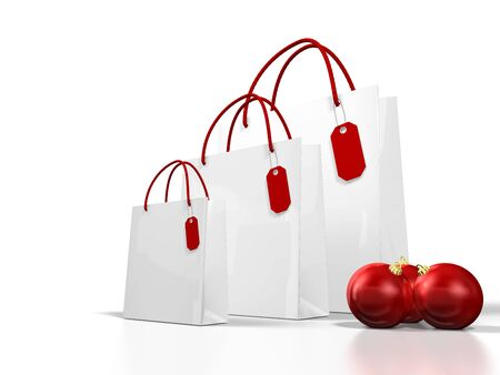 white christmas shopping bag on white background photo