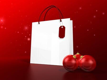 white christmas shopping bag on white background photo