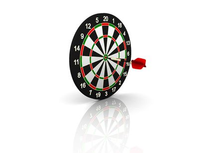 darts flying: dartboard and flying on white background