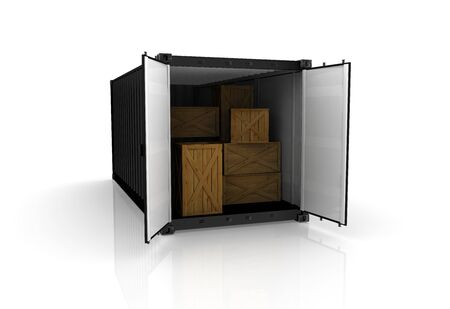 seafreight: 3D render de un contenedor de carga sobre fondo blanco Foto de archivo