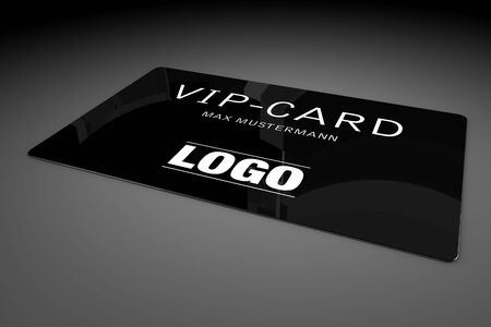 neckband: VIP card isolated over black background Stock Photo