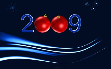 happy newyear: happy newyear,red greeting card on blue background