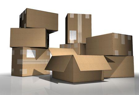 brown carton on white background Stock Photo - 3819121