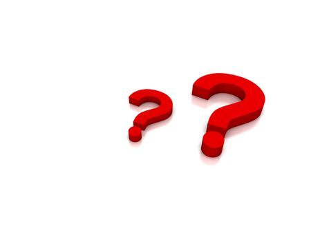 unsure:  Red Question on white background Stock Photo