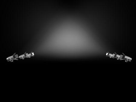 spotlights shining on a grungy floor in a room