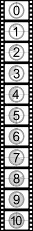 film making: Filmstrip countdown Stock Photo