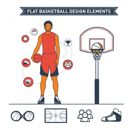Flat basketball design elements