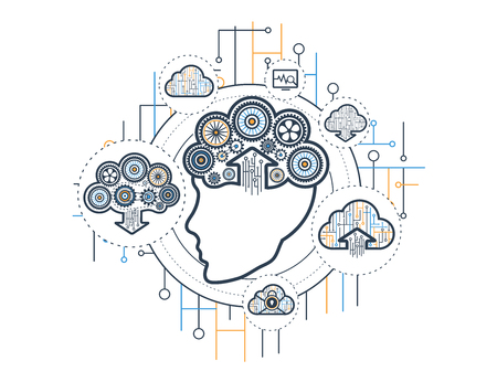 cognitive: Cognitive cloud vector illliustration and icon set