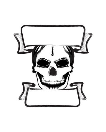 fearsome: Fearsome vector skull banner Illustration