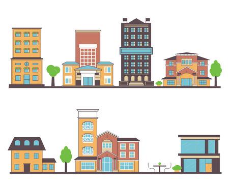 Flat buildings vector illustration