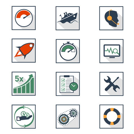 Simple flat business oriented icons 向量圖像