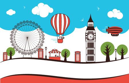 London streets landmarks illustration