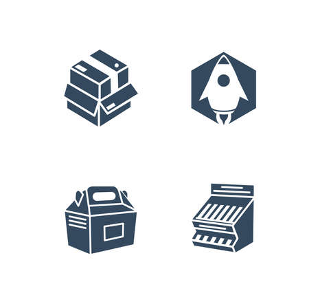 flat vector packaging innovation icon set 向量圖像