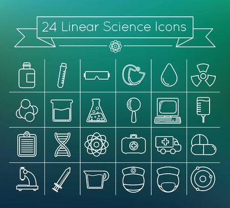 Linear science icon set 向量圖像