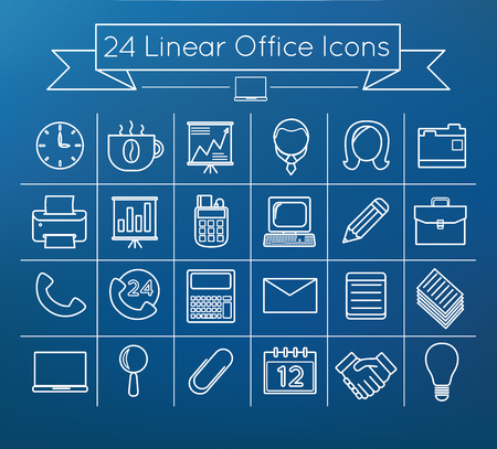 Linear vector office icons