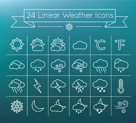 Linear vector weather icons 向量圖像