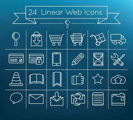 magnyfying glass: Linear vector web icons Illustration