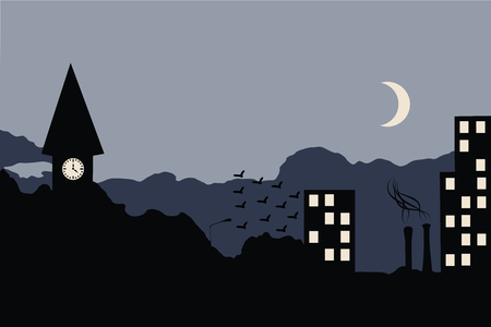 Late night cityscape illustration vector 向量圖像