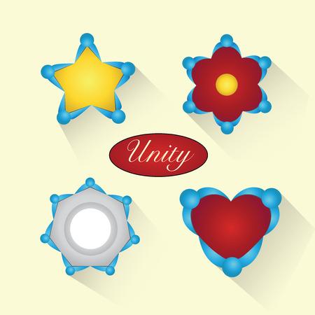 Human collaboration unity symbols 向量圖像