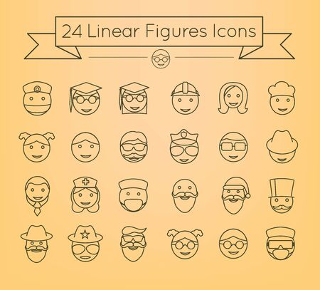 Linear vector people icon set