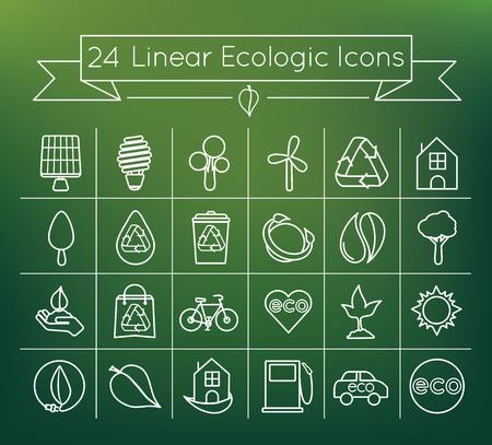 Linear ecologic icon set 向量圖像