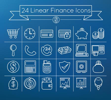 Linear vector finance icon set 向量圖像