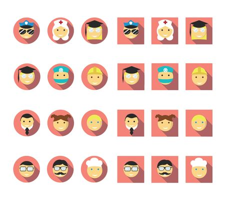 shadow people: Flat long shadow people vector icon set
