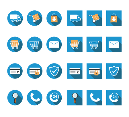 magnyfying glass: flat long shadow online shopping icon set