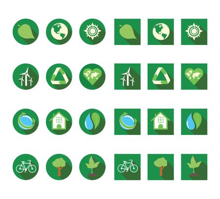 ecologic: Flat long shadow ecologic icon set