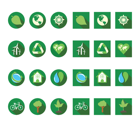 Flat long shadow ecologic icon set