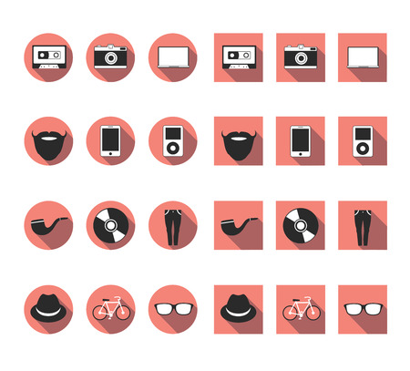 flat long shadow hipster icon set 向量圖像