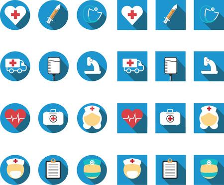 medics: flat long shadow medical icon set