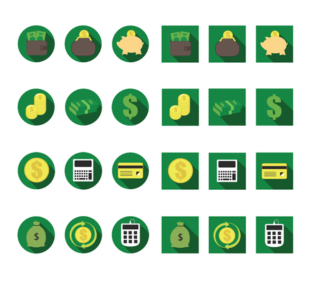 monetary: Flat monetary long shadow vector icon set