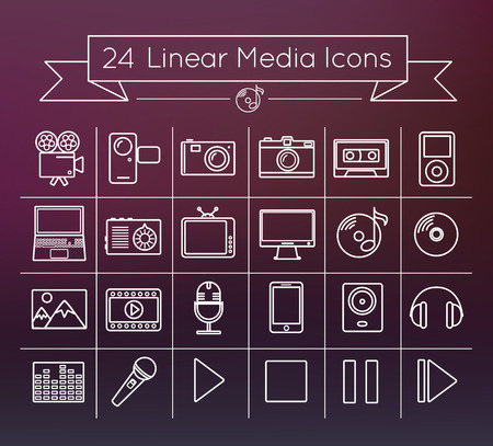 Linear media vector icon set