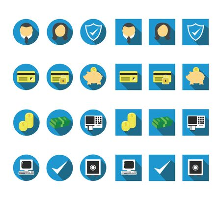 flat long shadow banking icons 向量圖像