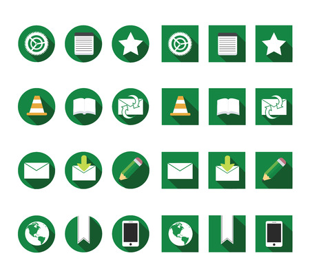 flat long shadow browser icons