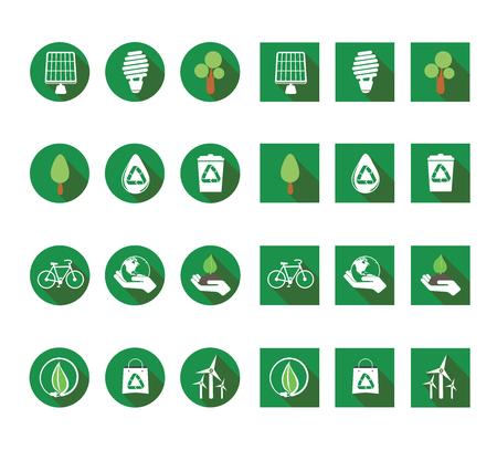 ecologic: flat long shadow ecologic icons